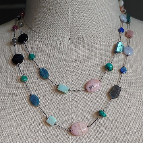knotted silk necklace - multi