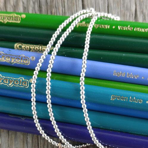 plain '2mm' silver stretchy bracelet