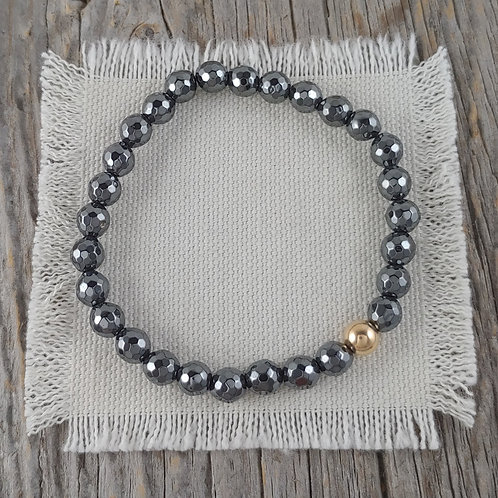 6mm hematite & 6mm golden stretchy bracelet