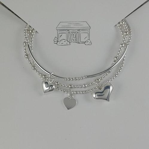 heart charmed stretchy bracelet trio #2