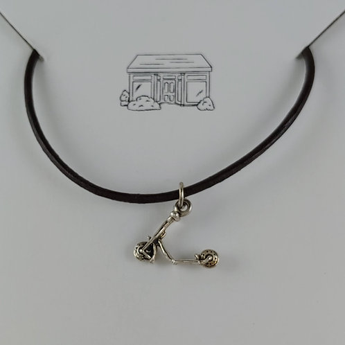 'scooter' charm on leather necklace