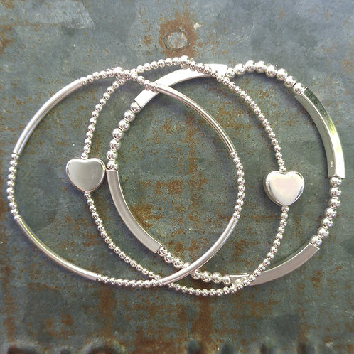 heart stretchy bracelet trio #3