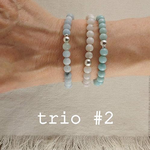 aquamarine bracelet trio