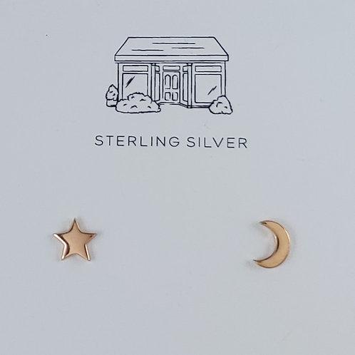 rose gold star & moon stud earrings
