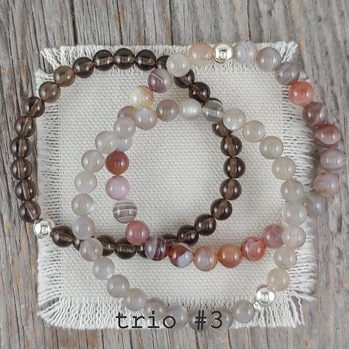smokey quartz bracelet trio