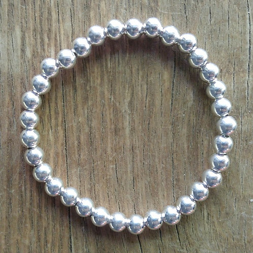 plain '6mm' silver stretchy bracelet
