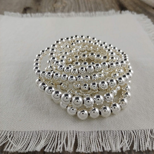 plain '7mm' or '8mm' silver stretchy bracelet bracelet