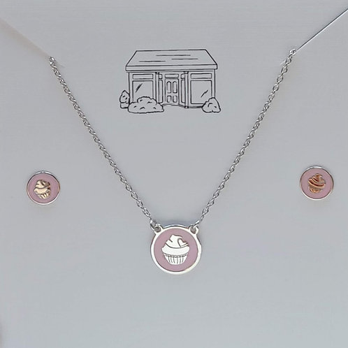 pink 'cupcake' childrens necklace set