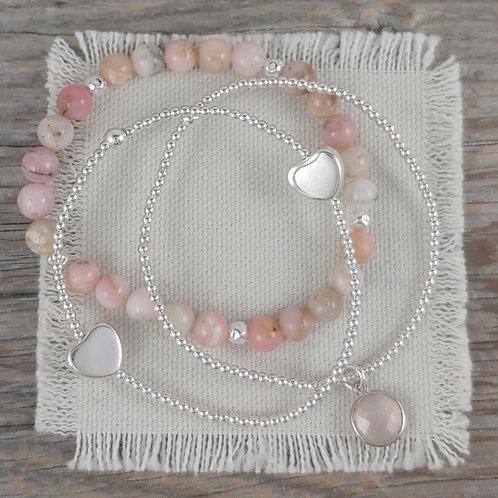 pretty in pink heart stretchy bracelet trio