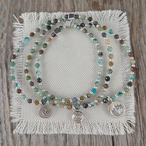 chrysocolla 'charmed' stretchy bracelets