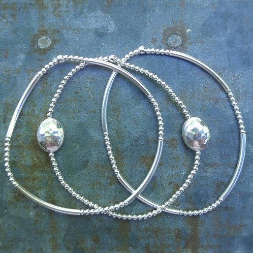 hammered stretchy bracelet trio #1