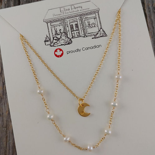 moon & pearl 'layer' necklaces