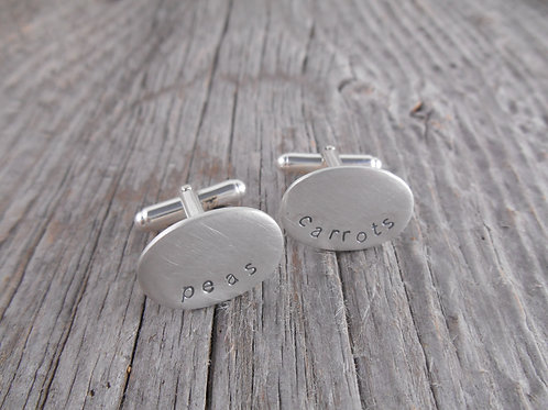 Oval sterling silver cuff links