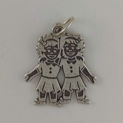 sterling silver 'sisters' charm