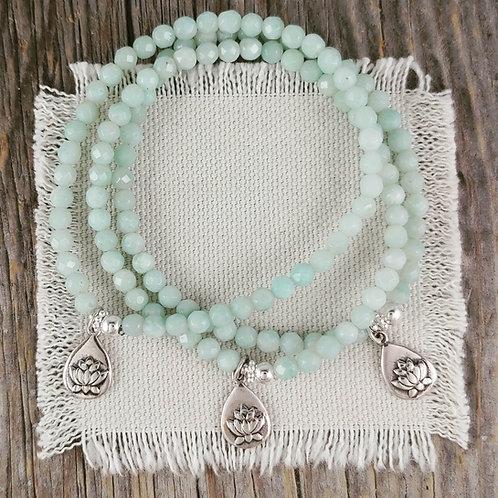 amazonite & lotus stretchy bracelet