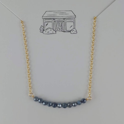 gold faceted sapphire bar necklace