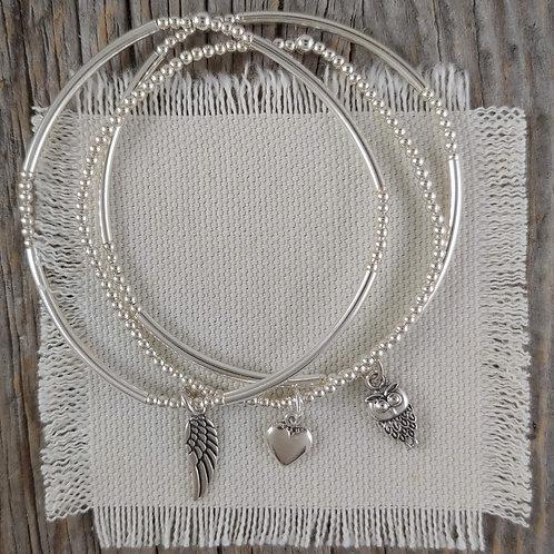 'wisdom, hope & love' stretchy bracelet trio