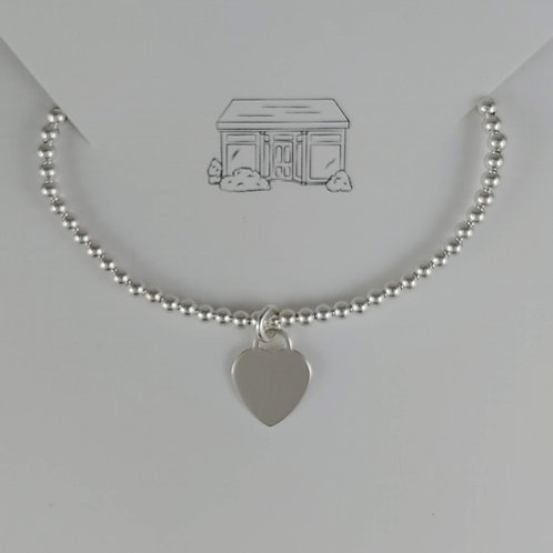 heart & 3mm beaded stretchy bracelet