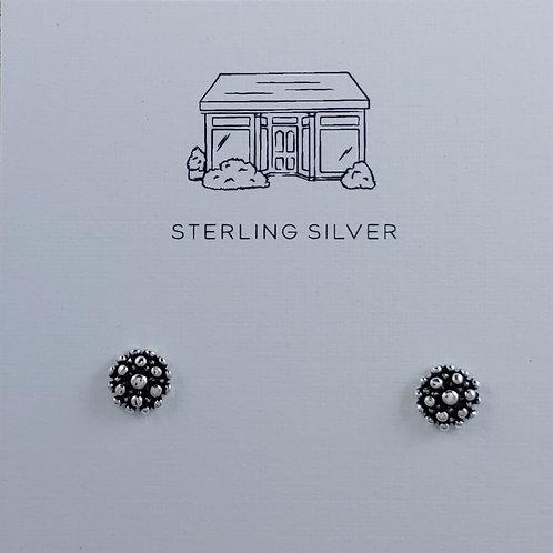 dotted silver stud earrings
