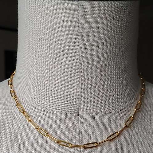 flat paperclip link necklace