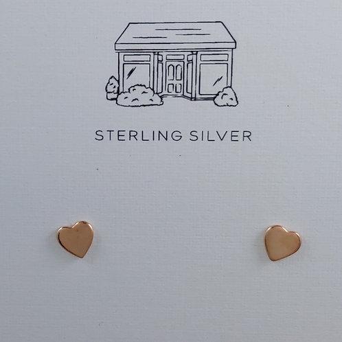 shiny rose gold heart stud earrings