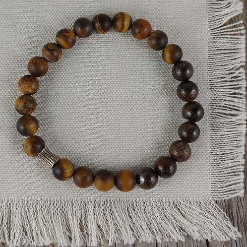 men's tigers eye & bronzite bracelet