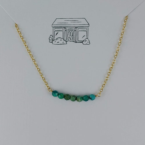 gold faceted turquoise bar necklace