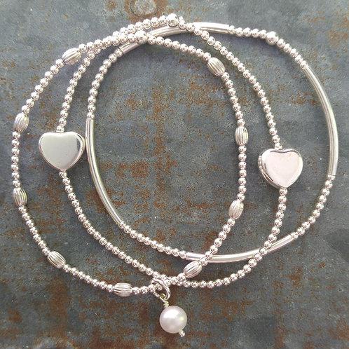 'heart' stretchy bracelet trio #2