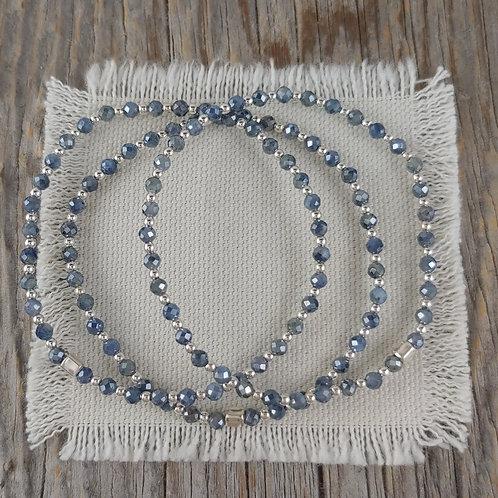 'sapphire' & silver stretchy bracelet