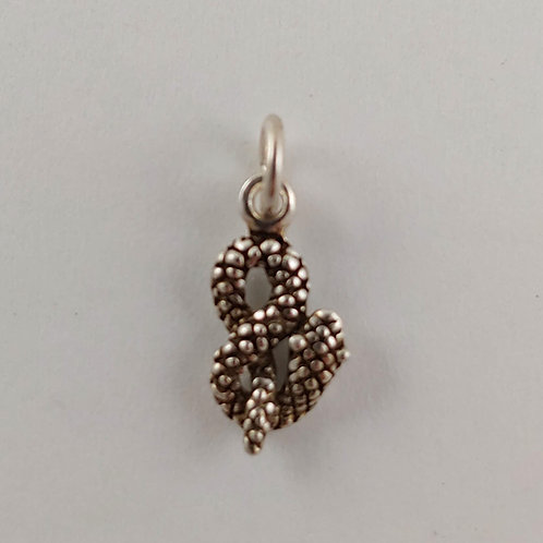 coiled 'snake' sterling silver charm