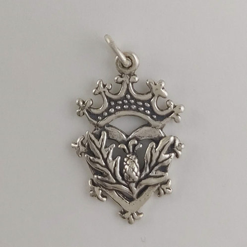 sterling silver thistle & crown charm