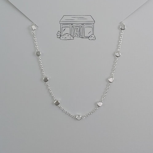 sterling silver anklet - squished bead
