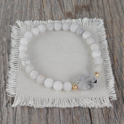 white lace agate station stretchy bracelet