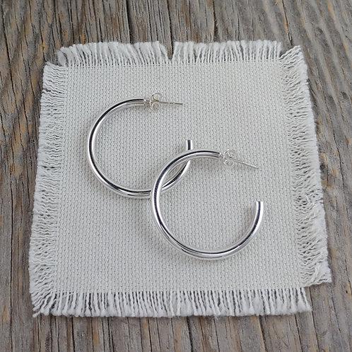 small tube posted hoop earrings
