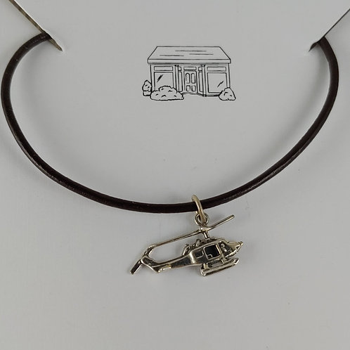 'helicopter' charm on leather necklace