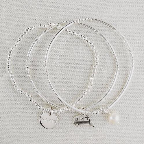 happy 'camper' stretchy bracelet trio