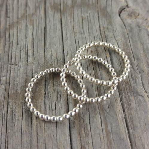 2mm sterling silver beaded ring