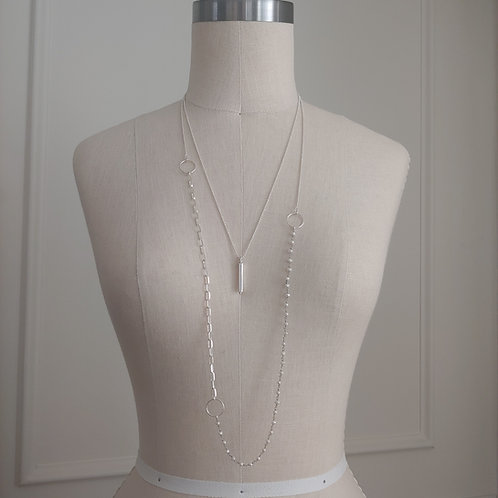 silver & pearl layered necklaces