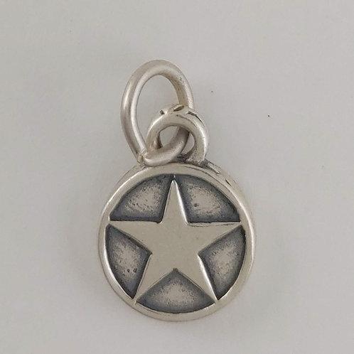 sterling silver round 'star' charm