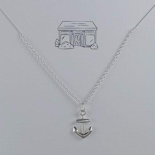 mini silver anchor necklace