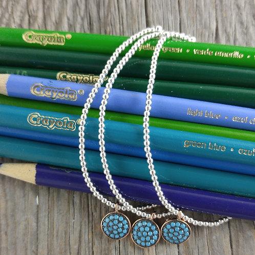 'turquoise' circle & 2mm stretchy bracelet
