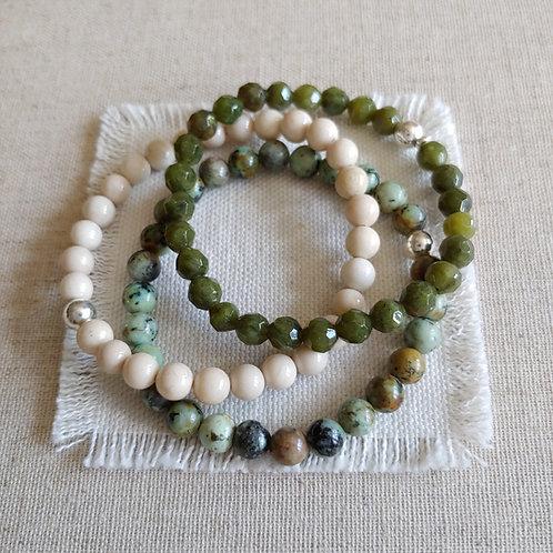semi-precious bracelet trio #1