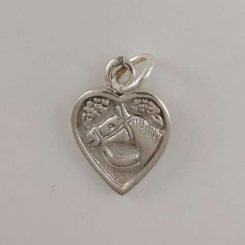 sterling silver 'horse' heart charm