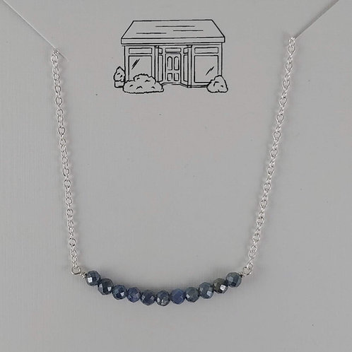 faceted sapphire bar necklace