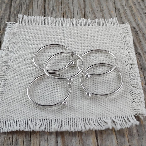 sterling silver stacking ball ring