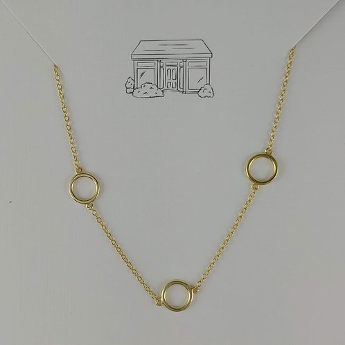 5 gold 'rings' necklace