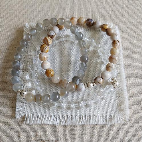 semi-precious bracelet trio #7