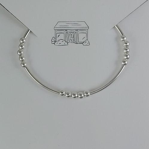 mini tubes & 4mm beaded stretchy bracelet