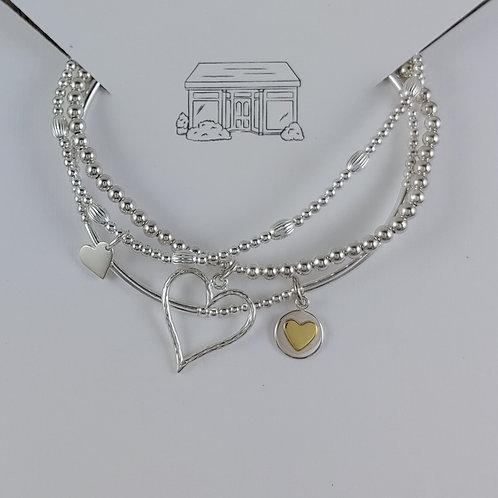 heart charmed stretchy bracelet trio #4