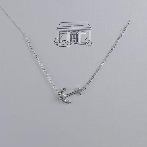 silver anchor bar necklace